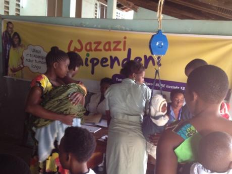 Women signing up for SMS service
