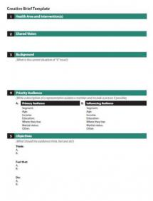 marketing campaign brief template - creative brief template one the health compass