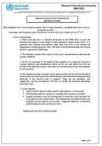 informed consent form template for qualitative studies the health
